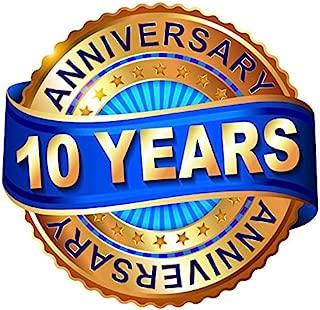 Leyiyi 4x4ft 10 Years Anniversary Backdrop Happy 10th Birthday Banner Luxury Diamond Wedding Mermorial Event Background Vintage Medal Glitter Business Adults Portrait Vinyl Prop Studio Wallpaper