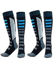 MOOKLIN ROAM 2 Paia di Calze da Sci, Calze Sportive Touring Ski & Snow, Calda e Traspirante, Calzini Uomo e Donna (Colore Nero/Blu)