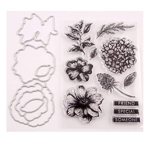 Bogji - bloemenzegel stempel met stansvormen sjabloon set DIY scrapbooking fotoalbum decoratief papier kaart handgemaakt