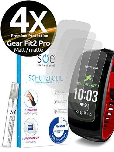 [4 Stück] Entspiegelte Schutzfolien kompatibel mit Samsung Gear Fit 2 Pro [Made in Germany - TÜV NORD] volle Abdeckung – Matt – einfache blasenfreie Aufbringung - Wasser- und schmutzabweisend