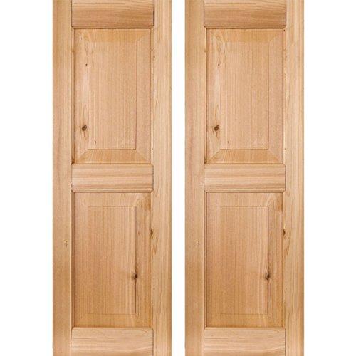Ekena Millwork RWR15X067UNP Exterior Real Wood Pine Raised Panel Shutters (Per Pair), 15