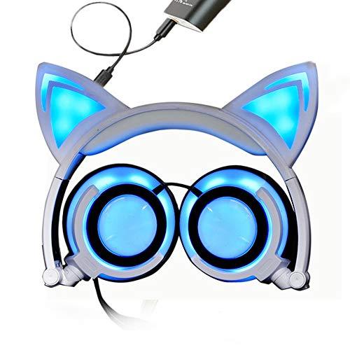 MGWA Auriculares inalámbricos con luz LED para orejas de gato, con cargador USB, auriculares plegables para niños, adolescentes y adultos, compatible ...