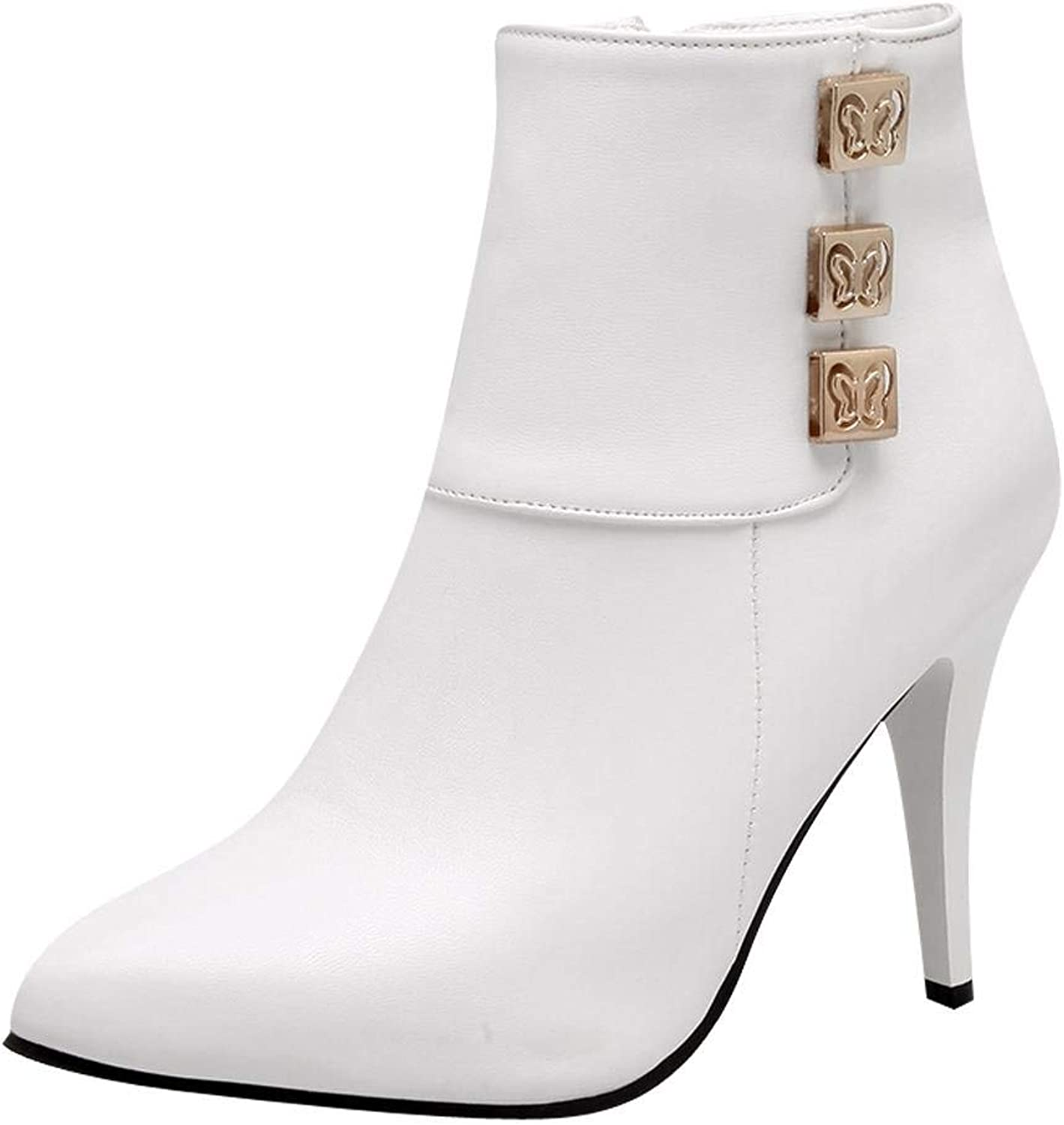 Ghapwe Women's Fashion Pointed Toe Zipper High Heel Ankle Boots White 8 M US