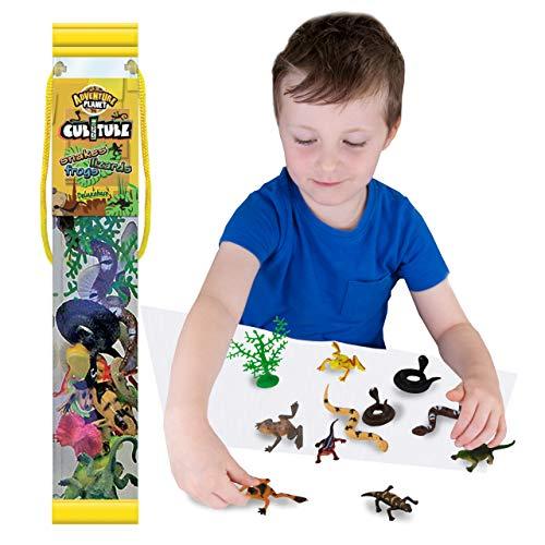 Cubitube - Reptil de Deluxebase. Colección de 11 Piezas de Figuras pequeñas de Reptiles y Accesorios. Tubo de Almacenamiento de plástico Reutilizable de Mini réplicas de lagartos, Ranas y Serpientes