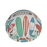 style08 Gorro de ducha de doble capa, colorido jardín de verano con flores, vegetación, arte forestal, elástico impermeable reutilizable