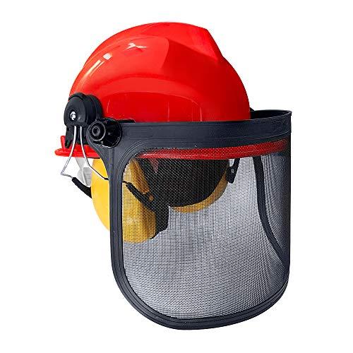 Aufun Forstschutzhelm Kopfschutz mit Stoß- und Kratzfester ABS – Helm und Kapselgehörschützer Schutzhelme NRR-Wert: 24 dB für Mähen, Schleifen, Bergbau