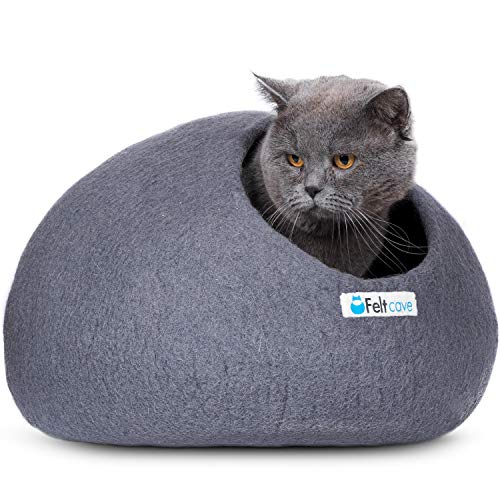 Feltcave Wool Cat Cave Bed, Handcrafted from 100% Merino Wool, Eco-Friendly Felt Cat Cave for Indoor Cats and Kittens (Grey)