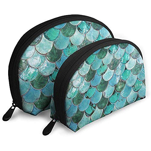 Blue Mer-Maid Tail Vintage Shellfish Sac cosmétique Shell Forme Sac de Rangement Portable Sacs de Voyage Trousse de Toilette (Comprenant 2 Sacs)