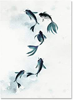 yinianposter Posters Chinese Style Ink Fish Painting Blue Watercolor Canvas Art Modern Home Decoration Wall Pictures for Living Room Unframed a