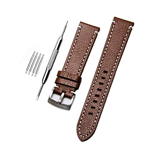 ZHUGE Unisex Cinturino Orologio Di Ricambio Da In Pelle con fibbia in acciaio inossidabile,light brown 22MM