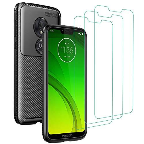 iVoler Cover per Motorola Moto G7 Power + 3 Pezzi Pellicola Vetro Temperato, Fibra di Carbonio Custodia Protezione in Morbida Silicone TPU Anti-Graffio e Antiurto Protettiva Case - Nero