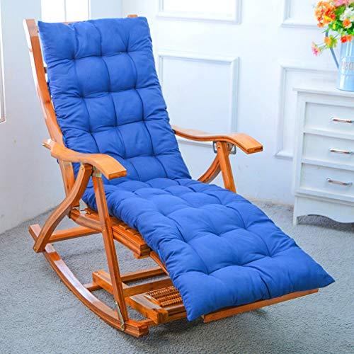 Sillón reclinable de Madera de Acacia Mecedora de jardín Tumbona de Ocio Plegable Almohadilla de algodón amigable con la Piel para al Aire Libre Oficina Regalo de Verano
