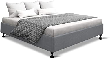 MODAA Double Full Size Non-Woven Fabric Bed Frame Platform, Steel Frame and Wooden Slat Base, Floor Scratch-Proof Leg, Adjust