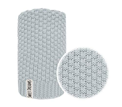 Baumwolle 100% Baby Strickdecke Kuschelige Decke ideal als Baby Decke, Erstlingsdecke, Wolldecke oder Baby Kuscheldecke 80x100 I 100x120 (1032) (Grau, 80 x 100)