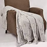 Home Soft Things Sequin Embroidered Throw Blanket, 50'' x 60'', Silver Grey, Soft Cozy Warm Sparkle Throw Blanket Couch Sofa Bed Cover Fall Winter Décor