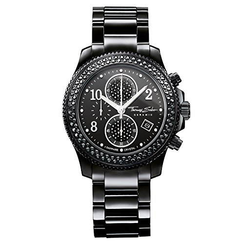 Thomas Sabo Damen Analog Quarz Uhr mit Keramik Armband WA0181-220-203-40mm