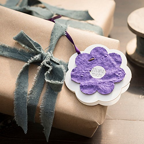 Die Stadtgärtner Geschenkanhänger | Blume lila | Blumiger Anhänger mit Saatgut für Wildblumen