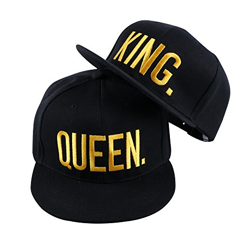 WENDYWU Hip-Hop Hats King and Queen 3D Embroidered Lovers Couples Snapback Caps Adjustable (King Queen)