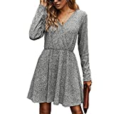 OOTaoper Women V Neck Long Sleeve Casual Mini Dress Ribbed Knitted Fall Winter High Waist Flowy Wrap A Line Dresses(Large, Grey)