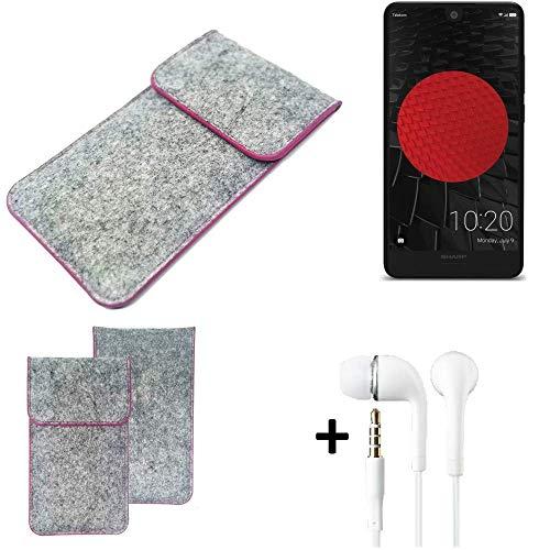 K-S-Trade Filz Schutz Hülle Für Sharp Aquos C10 Schutzhülle Filztasche Pouch Tasche Hülle Sleeve Handyhülle Filzhülle Hellgrau Pinker Rand + Kopfhörer