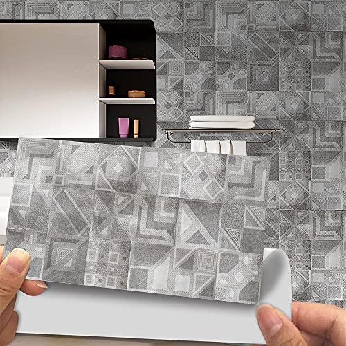 Azulejos Adhesivos Baño Cocina Geometría Gris 12 Vinilos Cocina Azulejos Vinilos Para...