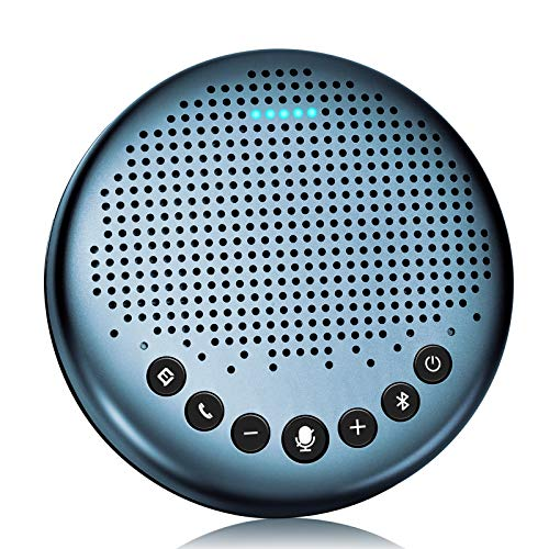 eMeet Luna Lite Speakerphone, Conference Microphone Speaker, Bluetooth Compatible, Skype Zoom, Noise Canceling, VoiceIA Technology, Online Conference, Telework, Home Conference System, Web Conferencing, Video Conferencing, PC Microphone, Web Conference Speaker, Two-Way Calls, Omnidirectional Sound Collection, Supports 5 - 8 Persons, 360˚ Omni-Directional Sound Collection, USB/AUX Connection, High Sound Quality, Skype/OUX Connection, High Sound Quality M/Facetime Call app supported, blue