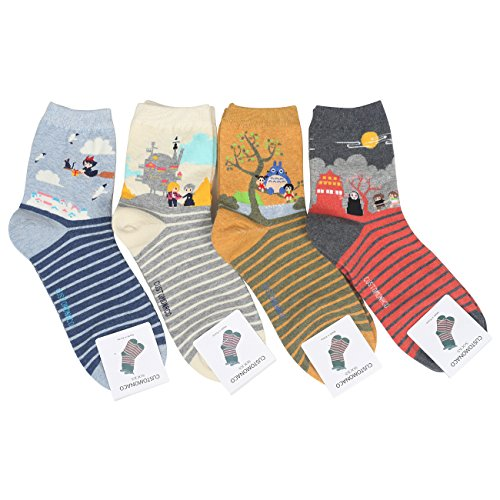 Customonaco Women Miyazaki Hayao Cartoon Socks,Multi,One Size (4 Pack)