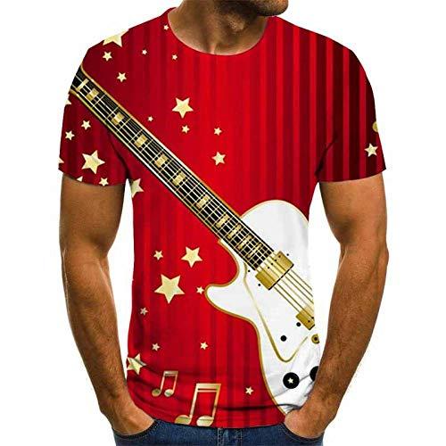 Gitaar Rock Unisex T Shirt Zomer 3D Gedrukt Korte Mouw Rood Snel Droog Casual Losse Blouse Nieuwigheid 3DT