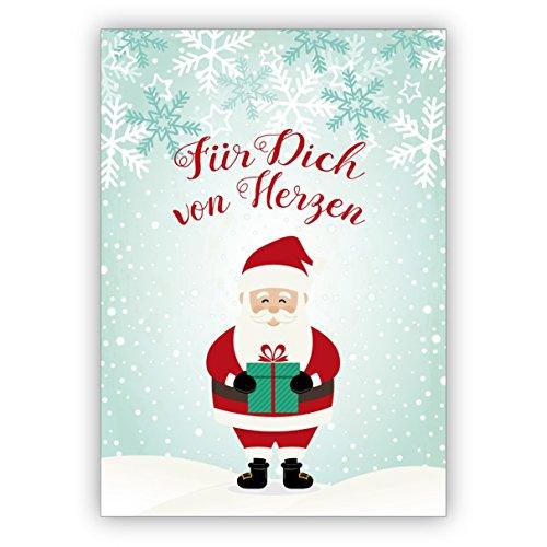 Kartenkaufrausch Süße Geschenk Weihnachtskarte mit Weihnachtsmann im Schnee: Für Dich von Herzen • als feine Grusskarte zu Weihnachten zum Jahres-Ende für Familie und Firma