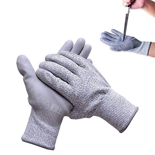 1 Paar Schnittfeste Handschuhe aus Kreuzfaser - Schnittschutz Schnittsichere Handschuhe für Küche Garten oder Industrie in Größe S bis XL, Grau
