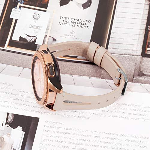 Ownaco Leder Armband Kompatibel mit Samsung Galaxy Watch 42mm Uhrenarmband Frauen Männer 20mm Echtleder Armband Ersatz für Galaxy Active 2 40mm 44mm (20mm Breite, Beige)