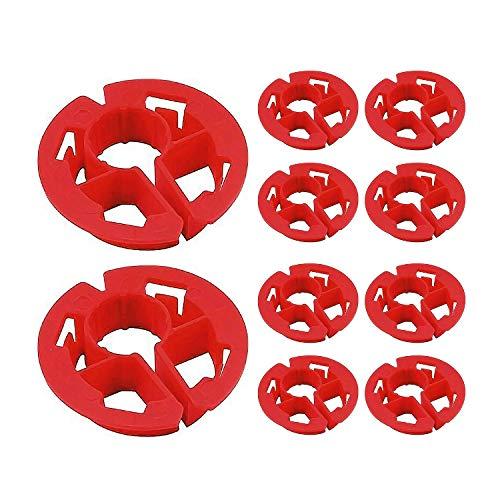 Highcraft PXCAP012-10 Metal Stud Insulator, Cushions 1/2 in. Pipe, Wiring PEX Tubing through Wood, Polyethylene (10 Pack), Red