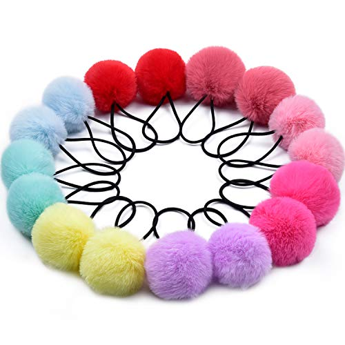 Pom Pom Hair Ties,Morgles 16pcs Pom Pom Elastic Hair Ties Hair Pom Poms Fluffy Ponytail Holders PomPom Hair Band for Girls Toddlers Pigtail,8 Colors/2 inches