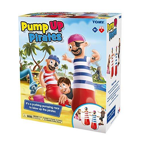 Tomy Pump Up Pirat Kinder Action Brettspiel Familie & Vorschulkinder Spiel Action Spiel für Kinder 4, 5, 6, 7, 8 Jahre alt Jungen & Mädchen & Erwachsene