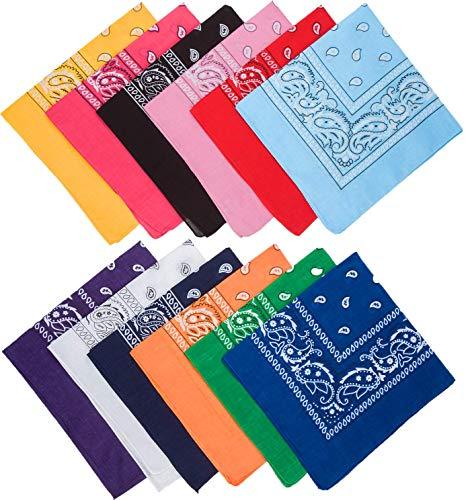 Benrise 12 Pack katoenen Bandana multifunctionele Paisley hoofdbanden Cowboy Bandana zakdoeken, gesorteerd 12 kleuren, 55 bij 55 cm