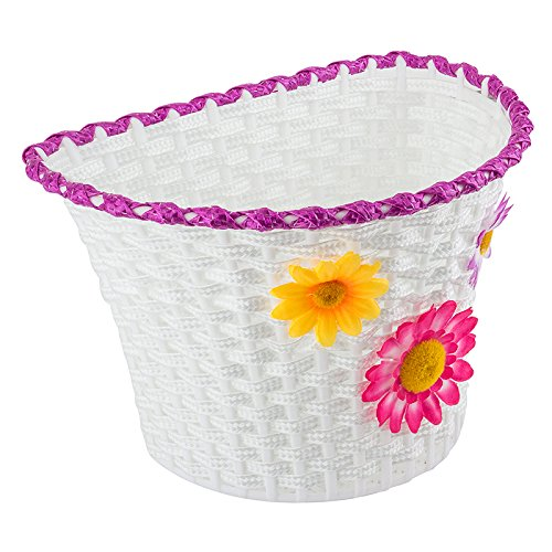 Classic Bike Basket - Small Bicycle Basket with Removable Flowers - 10 x 6.5 x 6.25