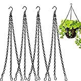Atrusu Paquete de 4 cadenas colgantes para macetas de flores, macetas de repuesto para comederos de pájaros, jardineras, faroles y ornamentos para decoración de jardín (Negro) (40,6 cm)