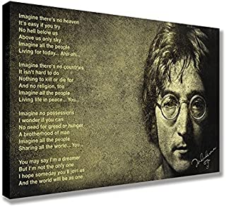 "JOHN LENNON IMAGINE LYRICS SIGNATURE CANVAS WALL ART (30"" X 18"" / 75 X 45cm)"