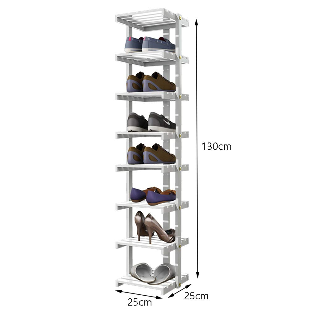 Size : 6 Tier LANN Solid Wood Small Narrow Shoe Rack Multi-Layer Home Recommended Assembly Shoe Cabinet Multifunctional Living Room White