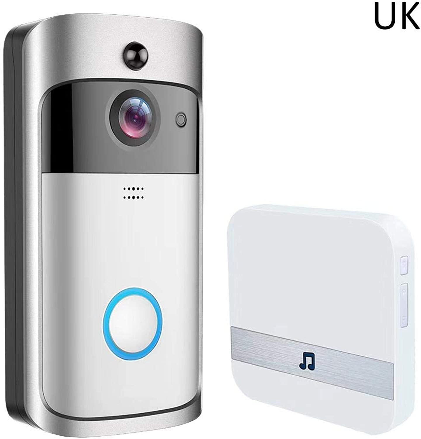Home Video Doorbell Portable Wireless Voice Intercom Doorbell with Responser, Smart Wireless Alarm System Home Security System, Support 4 Mobile Phones to Monitor, CosyTT