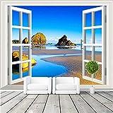 ZNNBH Peinture Murale 3D Auto-Adhésive 3D (W) 350X (H) 256Cm3D Fenêtre Photo Papier Peint Paysage Décoratif Paysage Seascape Peinture Murale Pour Enfants Chambre Décoration Tv Fond Mur