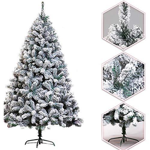 XFSHKJS Sneeuwachtige kunstkerstboom, scharnierende voorverlichte kerstboom Eenvoudige montage Geblokkeerde kerstboom met stevige massieve metalen poten