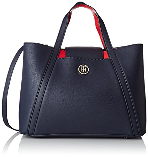 Tommy Hilfiger Damen Tommy Med Work Bag Cb Shopper, Blau (Navy/red), 13.5x24.5x33 cm