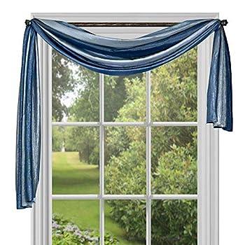 Achim Home Furnishings Ombre Window Curtain Scarf 50  x 144  Blue