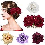 SelfTek - 1 paquete de pinzas para el pelo con diseño de rosas y 4 broches de flor para boda, novia, boda, boda, boda, tocado, cenicero de flamenco (4 colores variados)