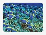 Lunarable Ocean Bath Mat, Powder Blue Tang Fishes in The Coral Reef Maldives Deep Seas, Plush...