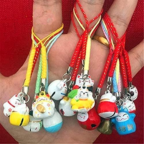 EatingBiting 15pcs Random Maneki Neko Fortune Lucky Japanese Beckoning Cat Keyring Keychain Key Rings , Fengshui Fortune Lucky Cat Kitty Key Chains Wealth Health Fortune Rich Money Symbol 15 pack