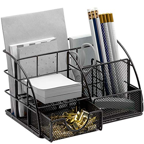 Sorbus Desk Organizer, All-in-One Stylish Mesh Desktop Caddy Includes Pen/Pencil Holder, Mail Organizer, and Sliding Drawer, Great for Home or Office (All-in-One Caddy - Black)