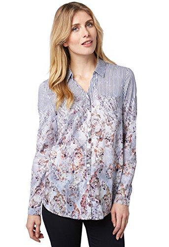 Bonita Damen Print, Langarm, Round-Neck Bluse, Mehrfarbig (White 2131), 42