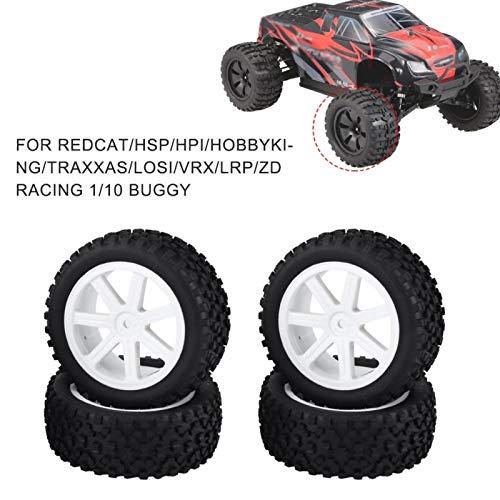 Alomejor 4 Stück RC Truck Gummireifen Verschleißfester 1/10 RC Car Rad Reifenersatz Kompatibel mit ZD Racing Crawler Car(Weiß)